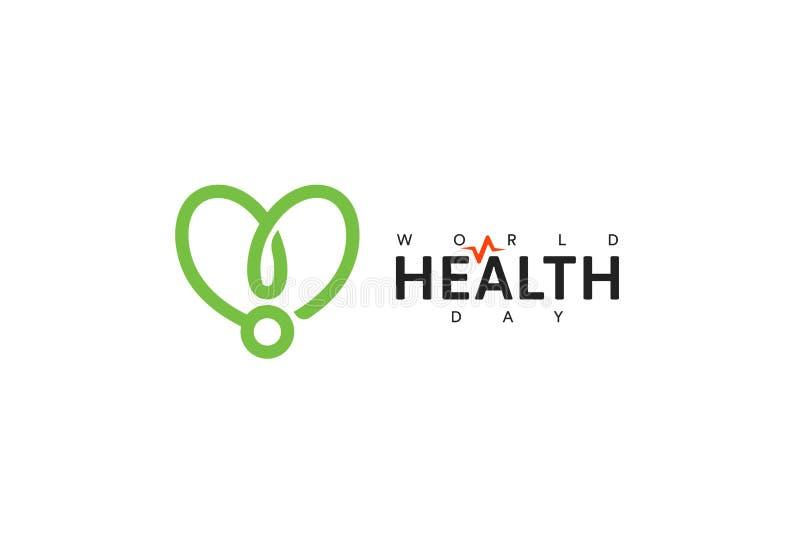 Icono del d?a de salud de mundo Cinta verde, promoci?n de la salud, s?mbolo m?dico Dise?o de concepto de la atenci?n sanitaria Ve libre illustration