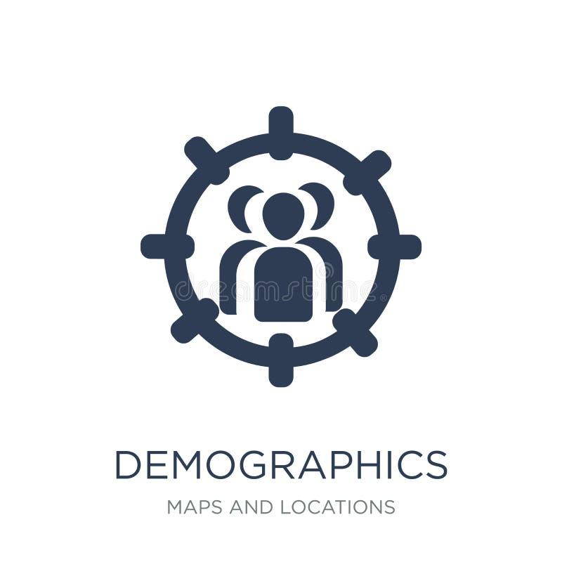 Icono del Demographics Icono plano de moda del Demographics del vector en blanco libre illustration