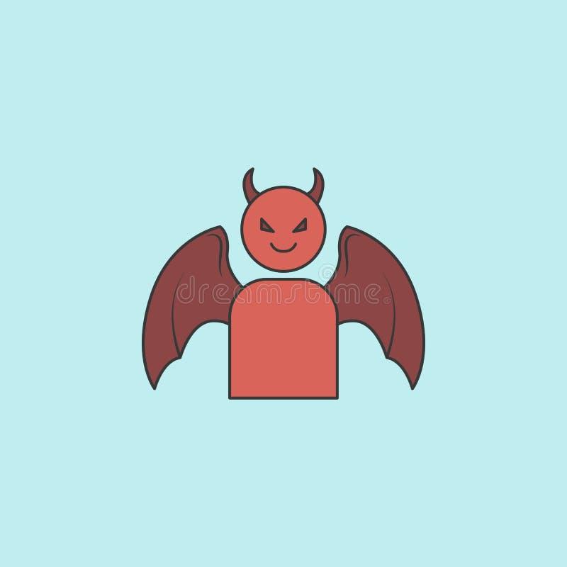 icono del demonio Elemento del ángel y del icono del demonio para los apps móviles del concepto y del web El icono llenado del de stock de ilustración