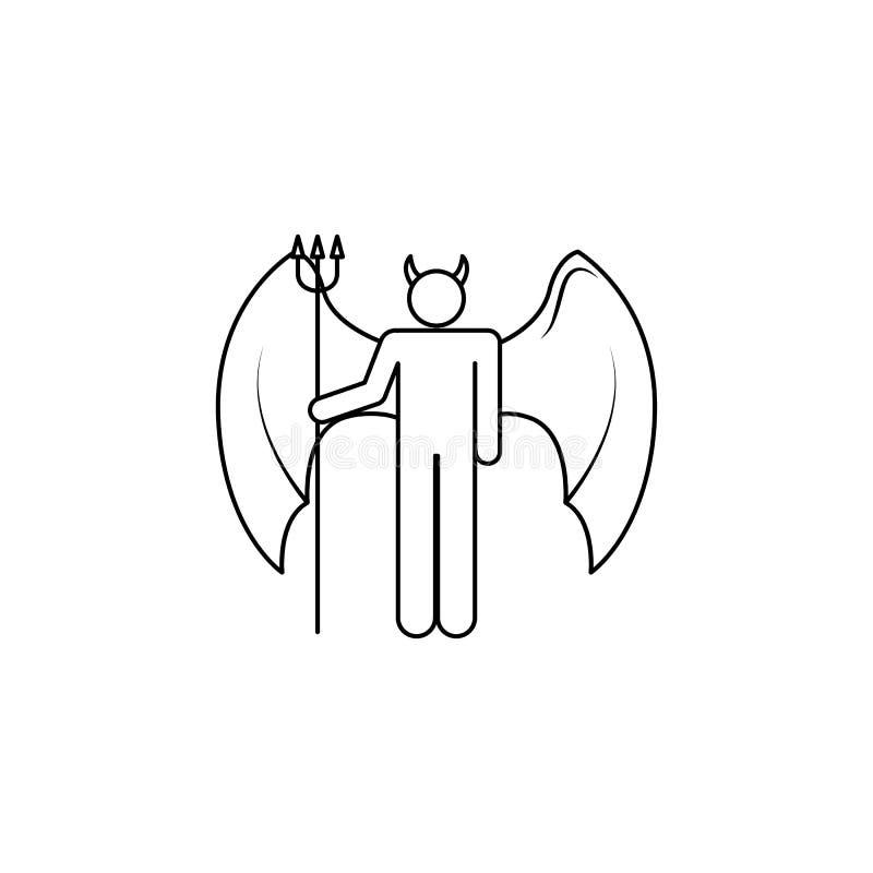 icono del demonio Elemento del ángel y del icono del demonio para los apps móviles del concepto y del web Línea fina icono para e stock de ilustración