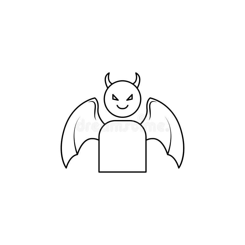 icono del demonio Elemento del ángel y del icono del demonio para los apps móviles del concepto y del web Línea fina icono para e ilustración del vector