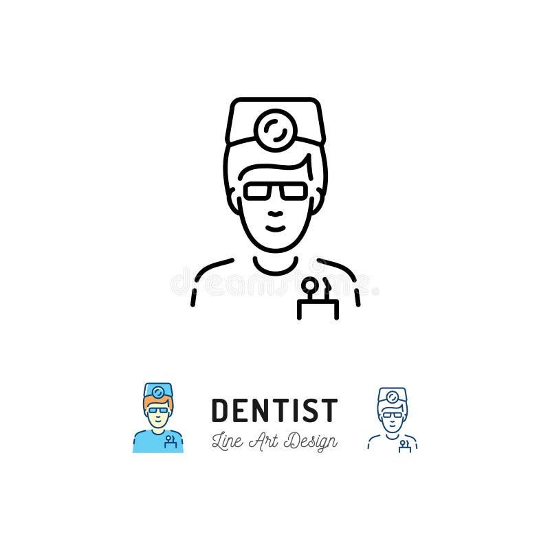 Icono del dentista, cirujano dental, doctor, logotipo del terapeuta Línea fina iconos del cuidado dental y de la estomatología de ilustración del vector