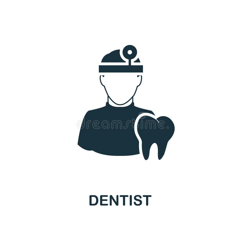 Icono del dentista Diseño monocromático del estilo de la colección del icono de las profesiones Ui Icono simple perfecto del dent stock de ilustración