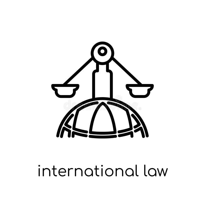 Icono del derecho internacional Vector linear plano moderno de moda Interna stock de ilustración