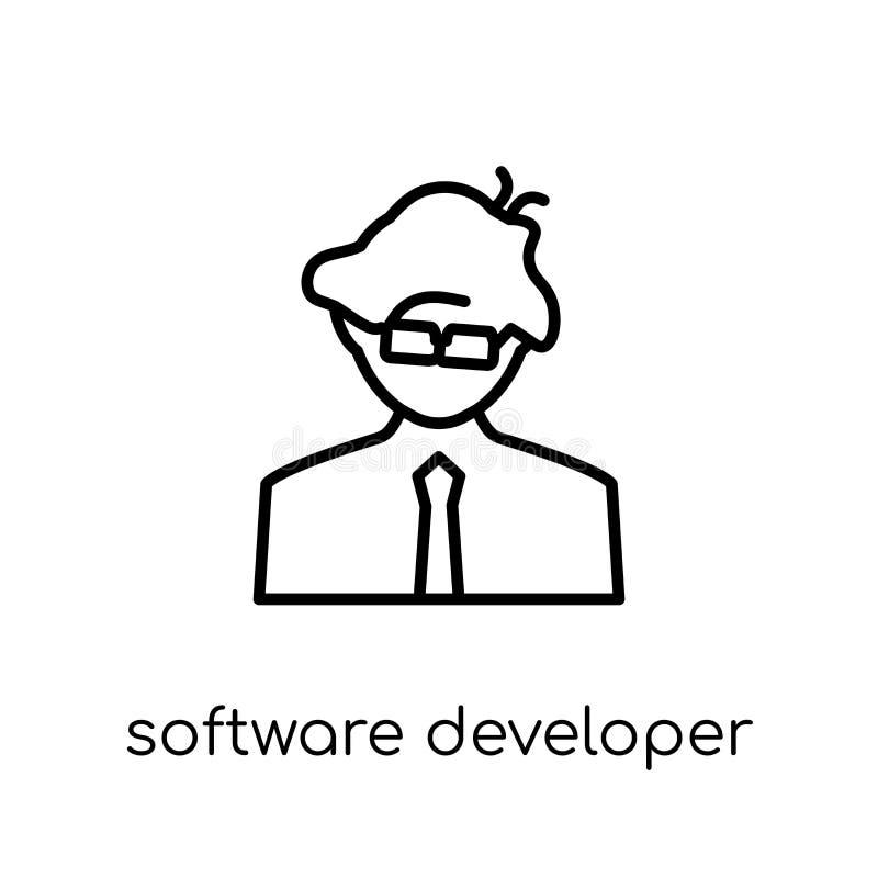 Icono del desarrollador de software Vector linear plano moderno de moda Softwa libre illustration