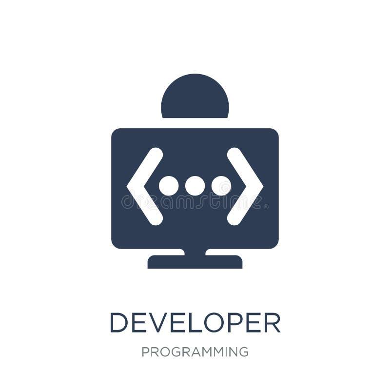 Icono del desarrollador Icono plano de moda del desarrollador del vector en el backg blanco ilustración del vector