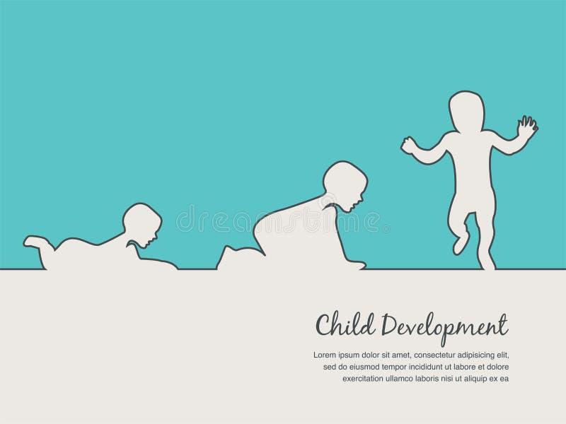 Icono del desarrollo del bebé, etapas del crecimiento del niño jalones del niño del primer año libre illustration