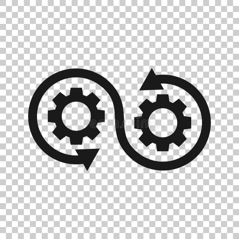 Icono del desarrollo en estilo transparente Ejemplo del vector de Devops en fondo aislado Diente con concepto del negocio de la f libre illustration
