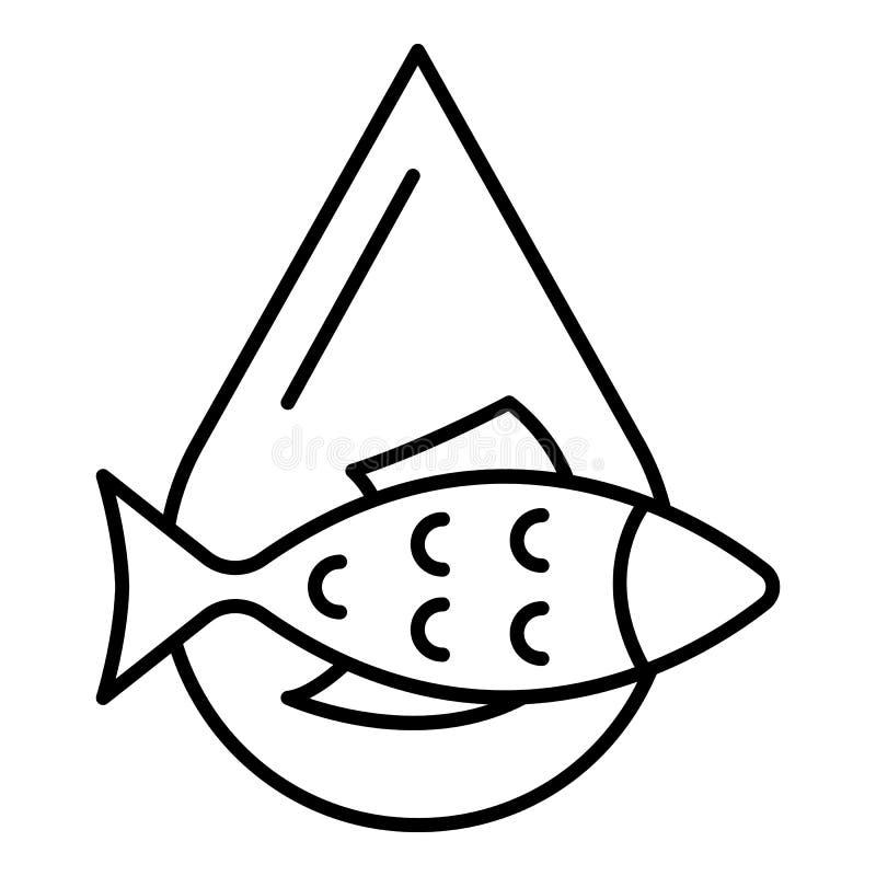 Icono del descenso del aceite de pescado, estilo del esquema stock de ilustración