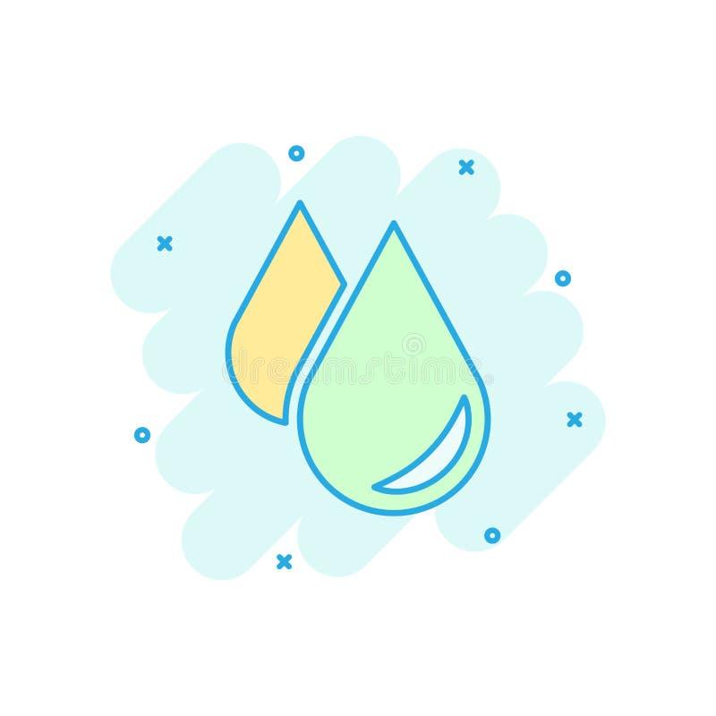 Icono del descenso del agua en estilo cómico Pictograma del ejemplo de la historieta del vector de la gota de agua Efecto del cha libre illustration