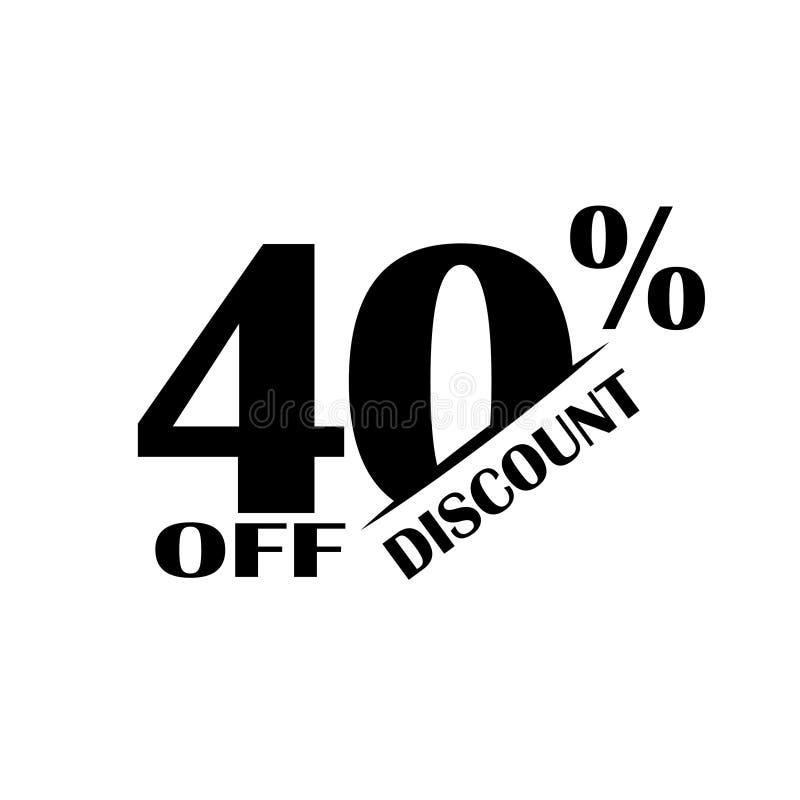 Icono del descuento de las ventas Precio de oferta especial el 40 por ciento - vector ilustración del vector