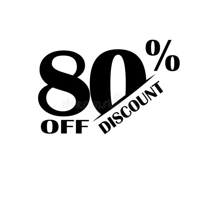 Icono del descuento de las ventas Precio de oferta especial el 80 por ciento - vector stock de ilustración