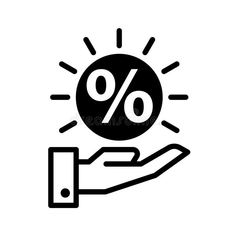 Icono del descuento a mano stock de ilustración