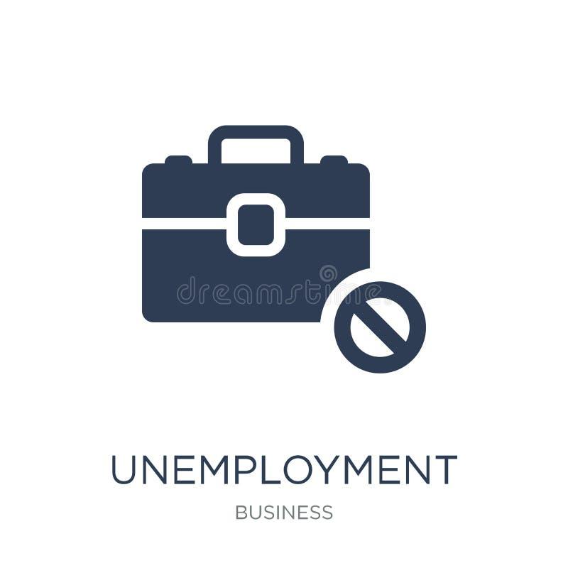 Icono del desempleo Icono plano de moda del desempleo del vector en blanco stock de ilustración