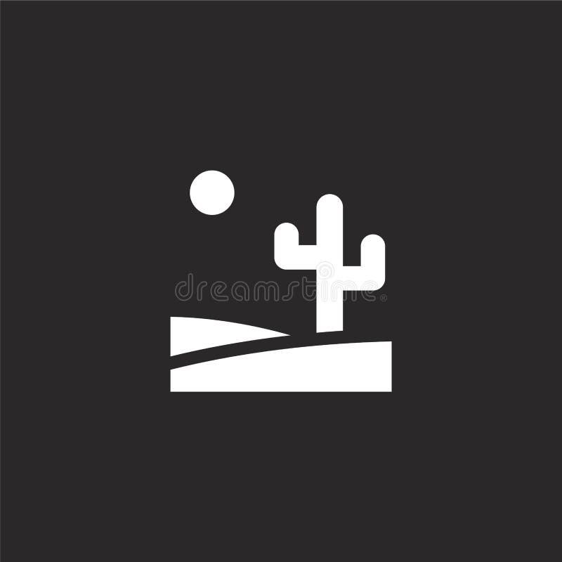 Icono del desierto Icono llenado del desierto para el diseño y el móvil, desarrollo de la página web del app icono del desierto d ilustración del vector