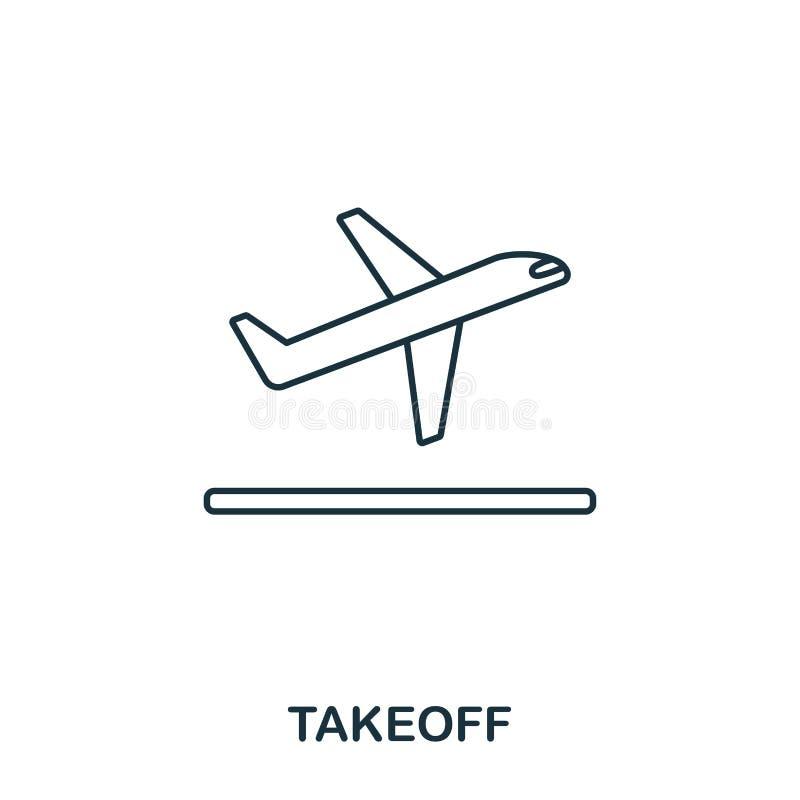 icono del despegue Línea fina estilo del esquema de la colección de los iconos del aeropuerto Icono perfecto para el diseño web,  libre illustration