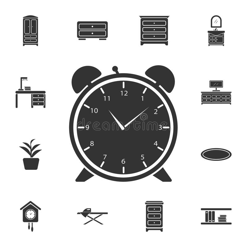 Icono del despertador Ejemplo simple del elemento Diseño del símbolo del despertador del sistema casero de la colección de los mu libre illustration