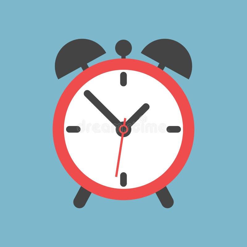 Icono del despertador Estilo plano del diseño Icono simple en backgro azul ilustración del vector