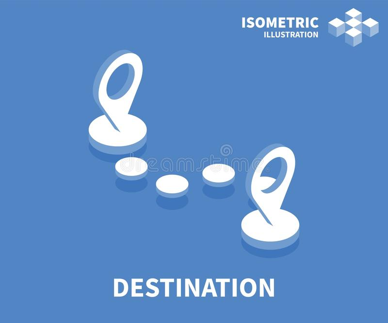 Icono del destino Plantilla isométrica para el diseño web en el estilo plano 3D Ilustración del vector libre illustration
