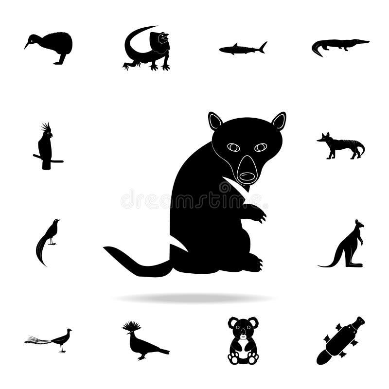 Icono del diablo tasmano Sistema detallado de iconos animales australianos de la silueta Diseño gráfico superior Uno de los icono libre illustration