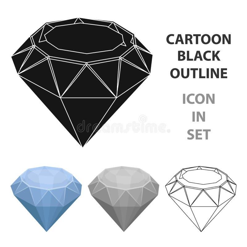 Icono del diamante en estilo de la historieta aislado en el fondo blanco Minerales preciosos y vector de la acción del símbolo de libre illustration