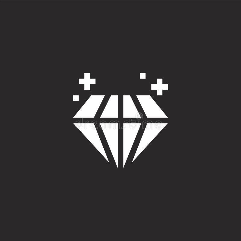 Icono del diamante Icono llenado del diamante para el diseño y el móvil, desarrollo de la página web del app icono del diamante d stock de ilustración