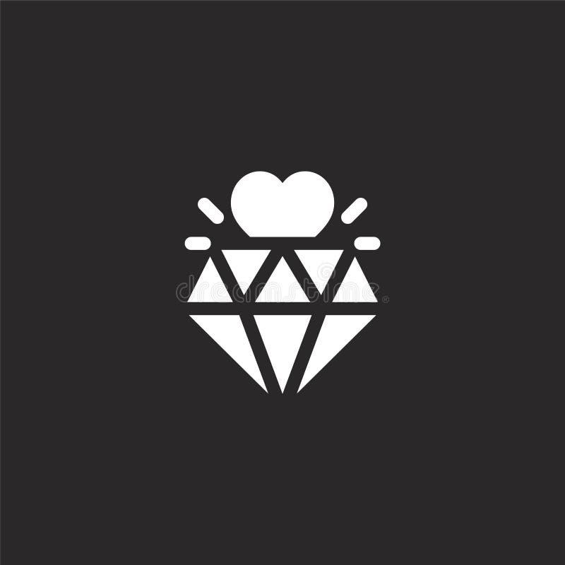 Icono del diamante Icono llenado del diamante para el diseño y el móvil, desarrollo de la página web del app icono del diamante d ilustración del vector