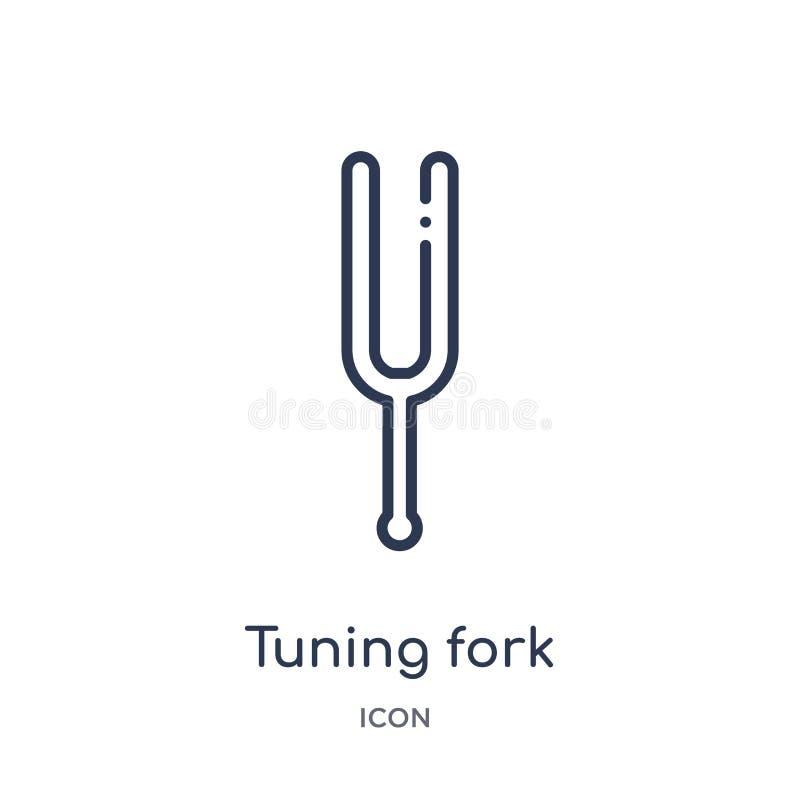 Icono del diapasón de la colección del esquema de la música Línea fina icono del diapasón aislado en el fondo blanco libre illustration