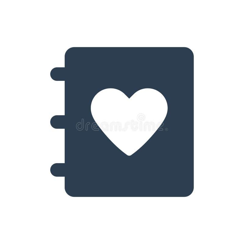 Icono del diario del amor ilustración del vector