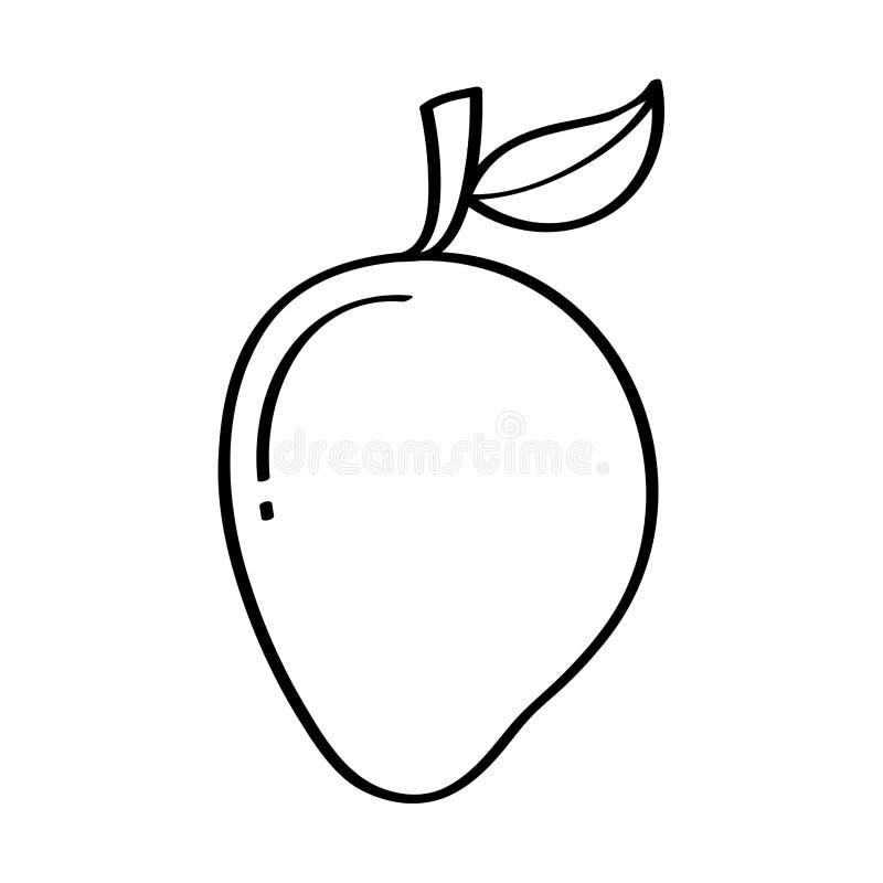 Icono del dibujo de la fruta fresca del mango stock de ilustración