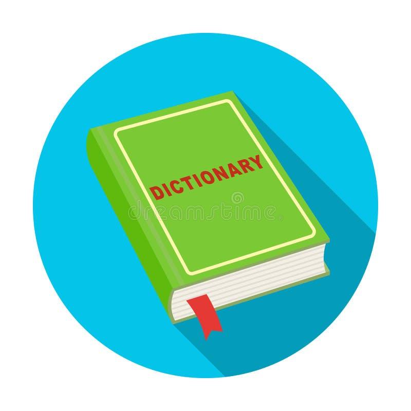Icono del diccionario en estilo plano aislado en el fondo blanco Ejemplo del vector de la acción del símbolo del intérprete y del ilustración del vector
