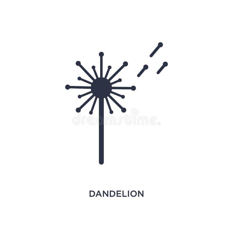 icono del diente de león en el fondo blanco Ejemplo simple del elemento del concepto de la naturaleza stock de ilustración