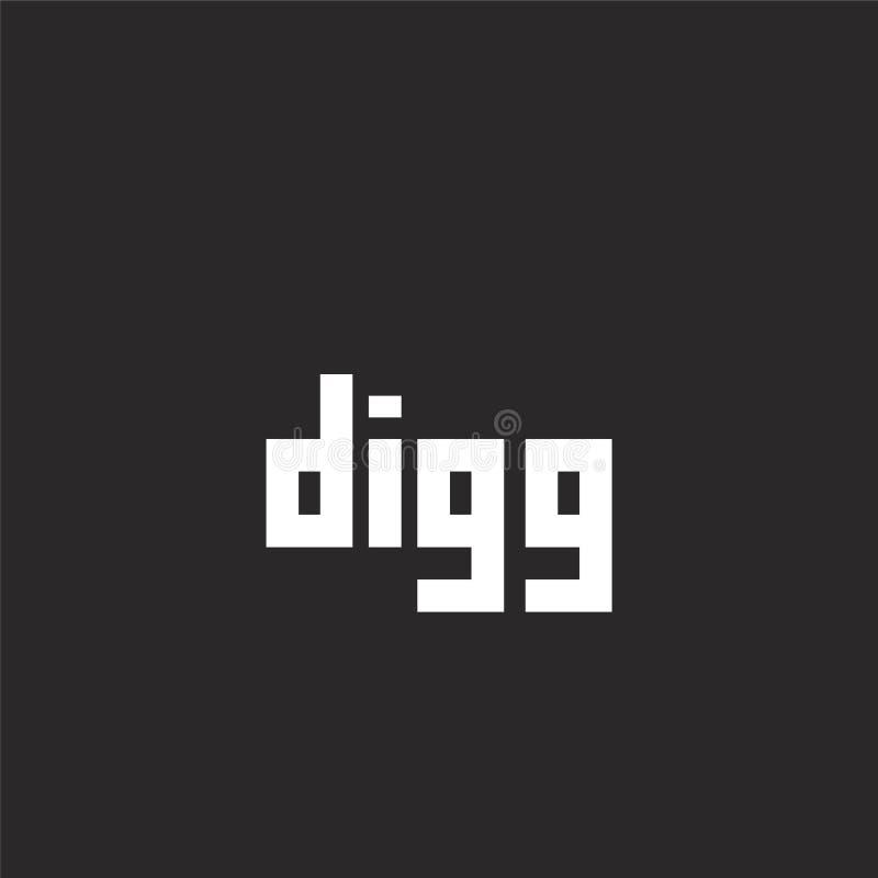 icono del digg Icono llenado del digg para el diseño y el móvil, desarrollo de la página web del app icono del digg de la colecci stock de ilustración