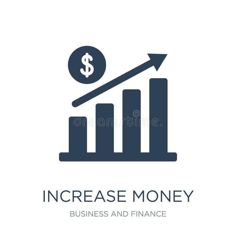 icono del dinero del aumento en estilo de moda del diseño icono del dinero del aumento aislado en el fondo blanco icono del vecto ilustración del vector