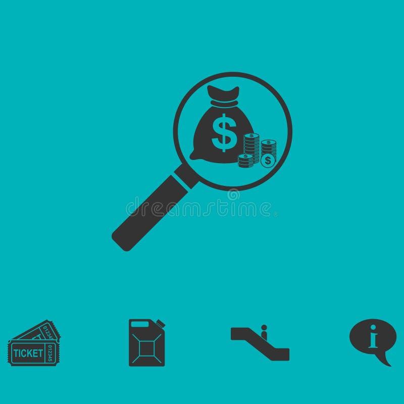 Icono del dinero de la búsqueda plano libre illustration