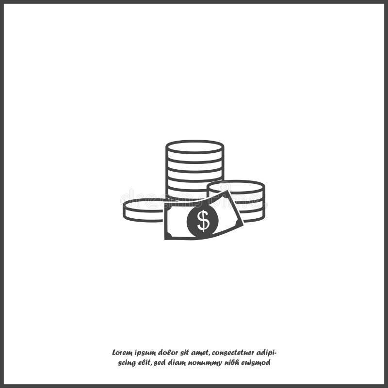 Icono del dinero del efectivo Dinero plano de la imagen en el fondo aislado blanco Capas agrupadas para el ejemplo que corrige f? stock de ilustración
