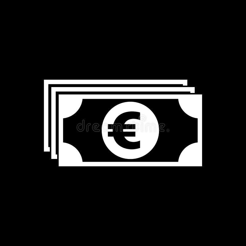 Icono del dinero Euro y efectivo, moneda, moneda, s?mbolo del banco Dise?o plano Acci?n - vector stock de ilustración
