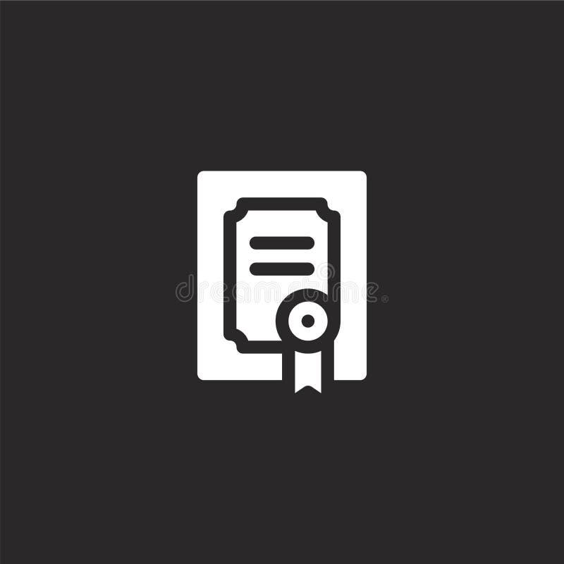 Icono del diploma Icono llenado del diploma para el diseño y el móvil, desarrollo de la página web del app icono del diploma de l ilustración del vector