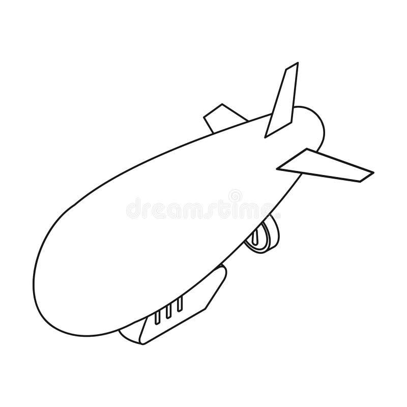 Icono del dirigible en estilo del esquema aislado en el fondo blanco Símbolo del transporte ilustración del vector