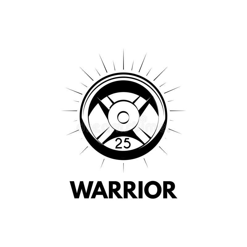 Icono del disco del Barbell Equipo de deporte Peso del Barbell Letras del guerrero Vector stock de ilustración