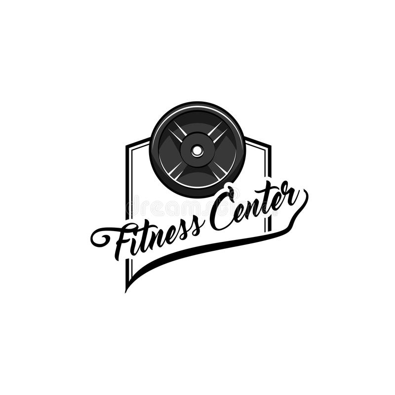 Icono del disco del Barbell Etiqueta del logotipo del centro de aptitud Entrenamiento del deporte bodybuilding Peso del disco Vec ilustración del vector
