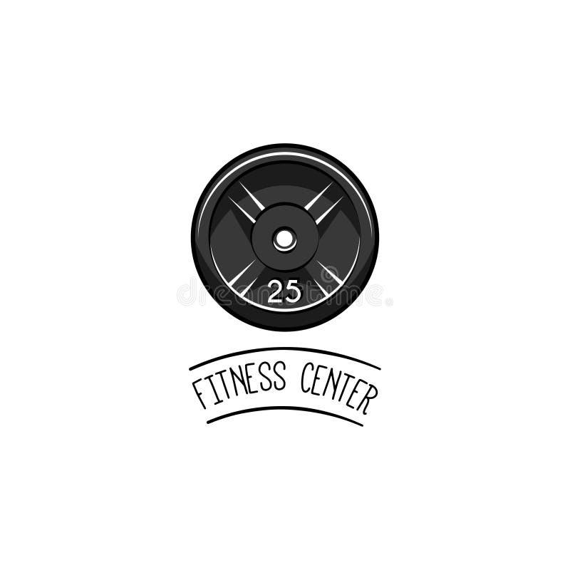 Icono del disco del Barbell Etiqueta del logotipo del levantamiento de pesas Entrenamiento del deporte, aptitud Peso del disco Ve ilustración del vector