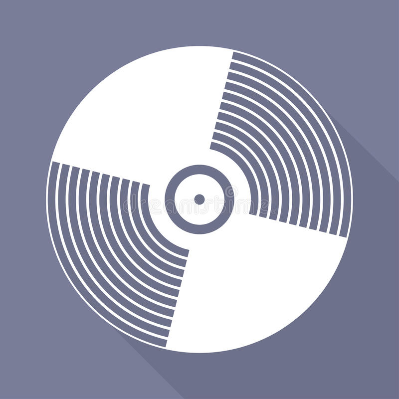 Icono del disco del vinilo de la música, diseño plano libre illustration