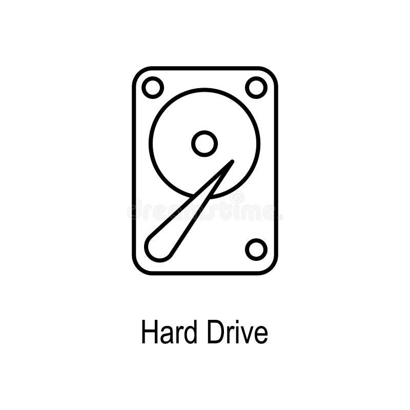 Icono del disco duro Elemento de la pieza del ordenador para los apps móviles del concepto y del web Línea fina icono para el dis libre illustration