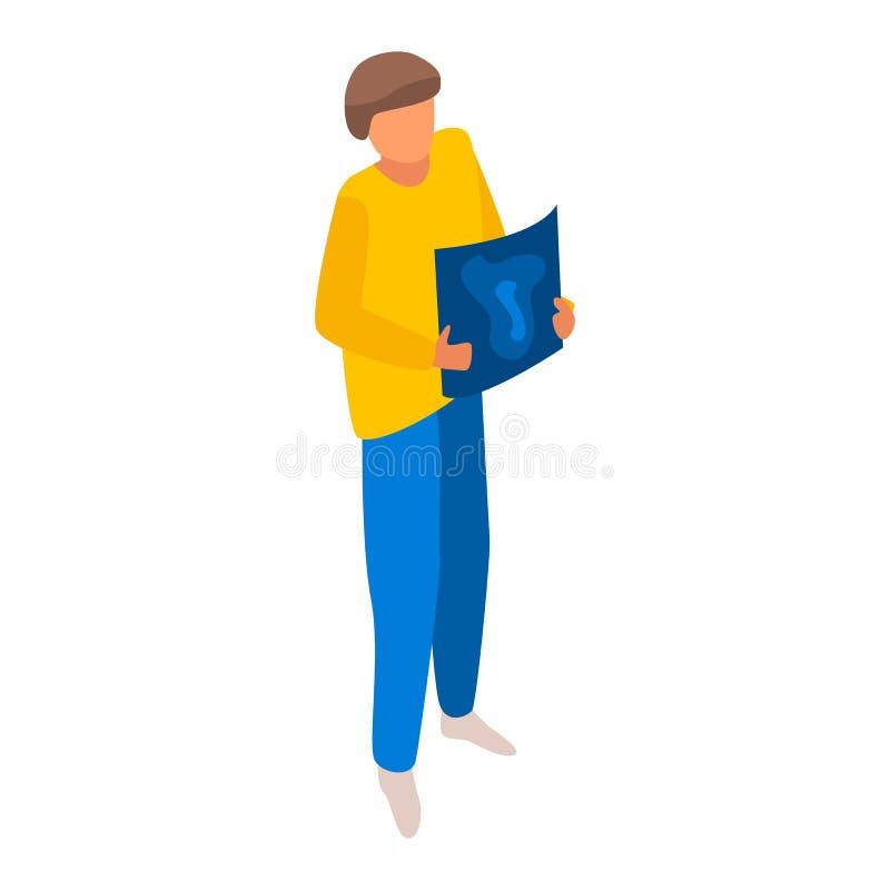 Icono del diseñador gráfico del hombre, estilo isométrico stock de ilustración