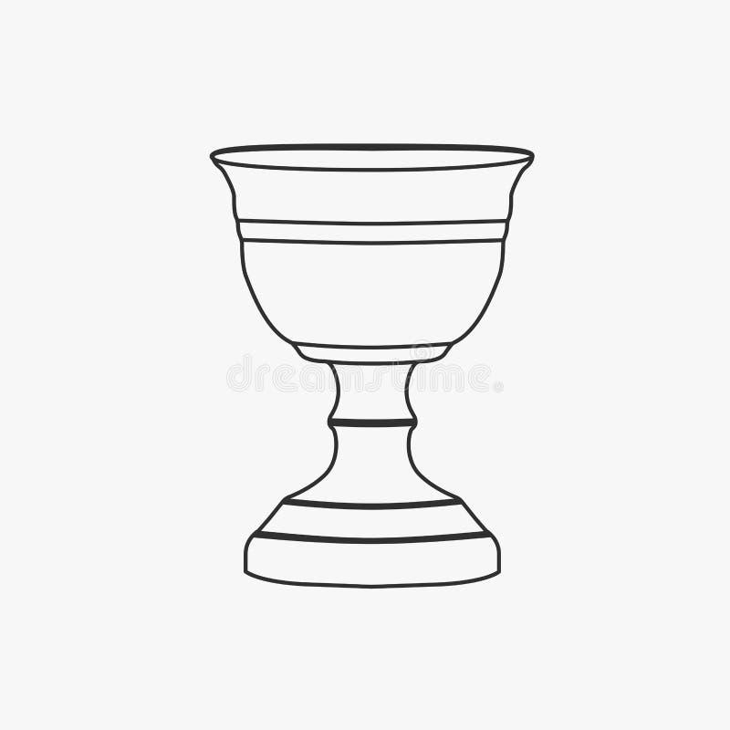 Icono del diseño del esquema del negro plano de la cáliz stock de ilustración
