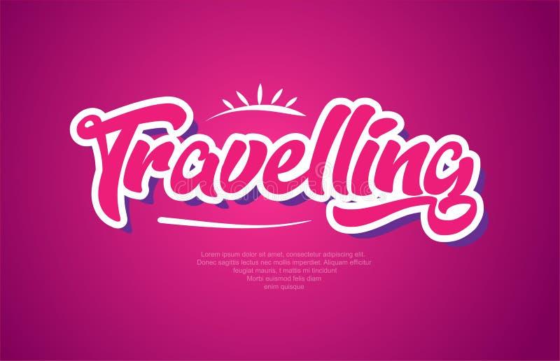 icono del diseño del rosa de la tipografía del texto de la palabra que viaja libre illustration