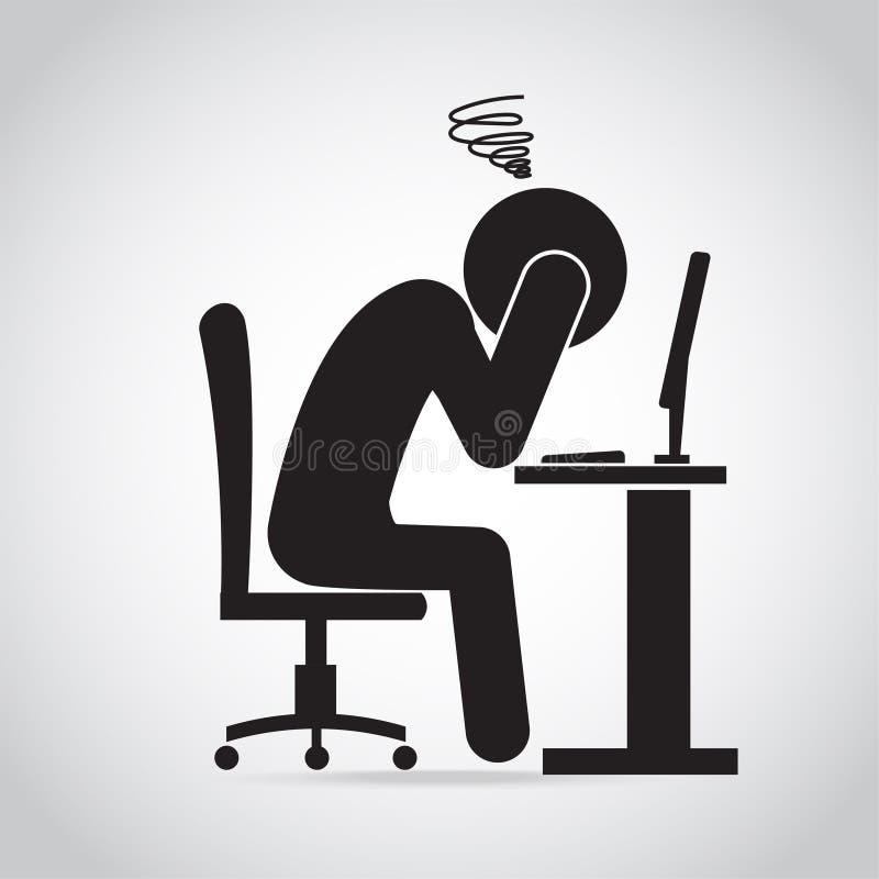 Icono del dolor del dolor de cabeza del hombre Hombre ansioso con un icono del trabajo Icono del síndrome de la oficina stock de ilustración