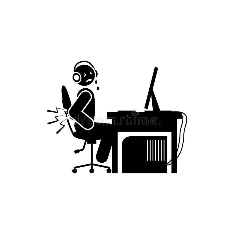 icono del dolor de espalda del hombre Elemento del icono del videojugador para los apps móviles del concepto y del web El icono d ilustración del vector