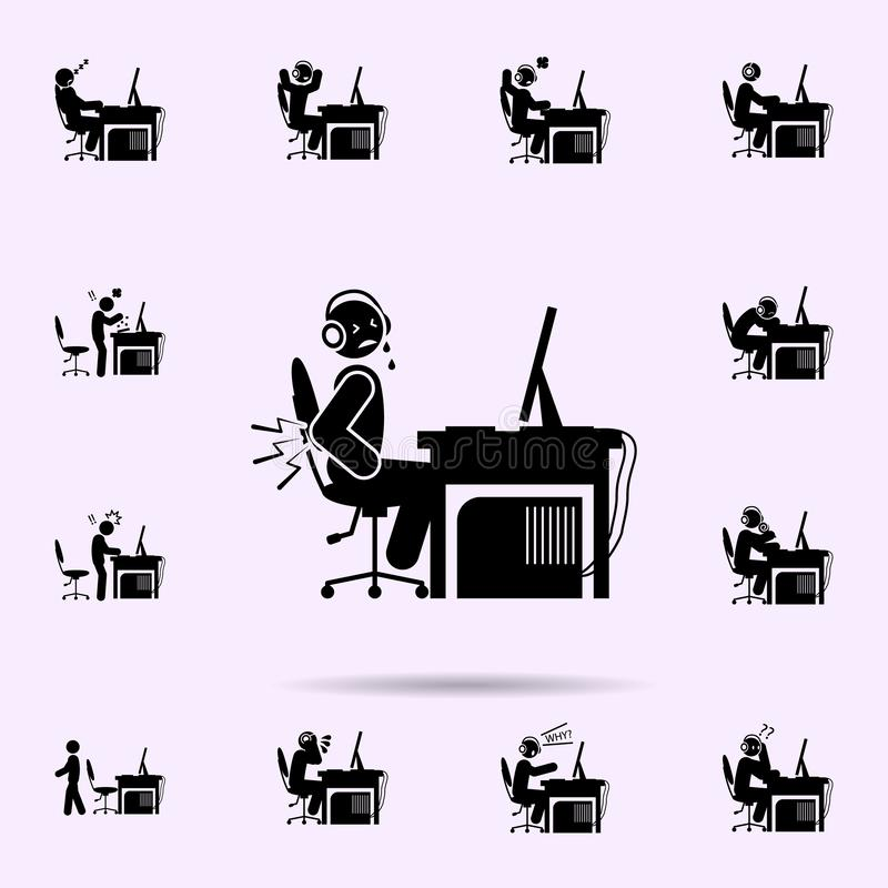 icono del dolor de espalda del hombre sistema universal de los iconos del videojugador para la web y el m?vil stock de ilustración